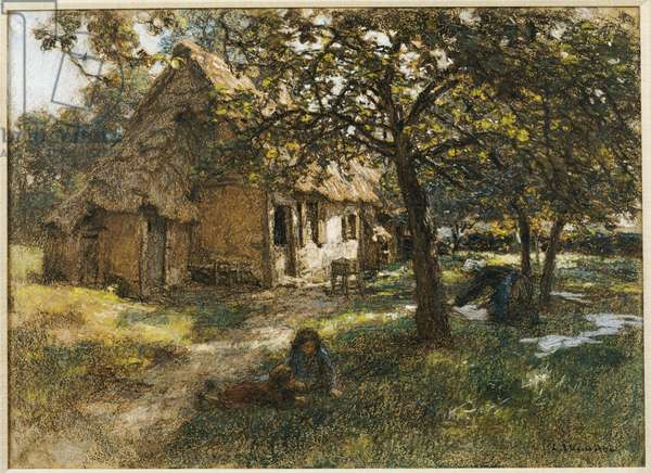 Cottage, Normandy, 1900 (pastel on canvas)
