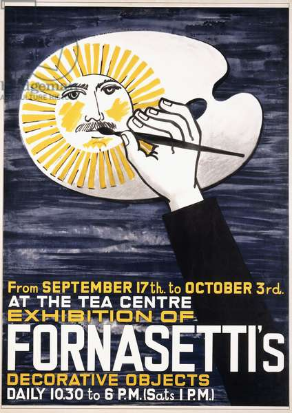 A poster for Piero Fornasetti's (1913-1988) exhibition of decorative objects at the Tea Centre in London, 1959, 1959 (offset colour lithograph)