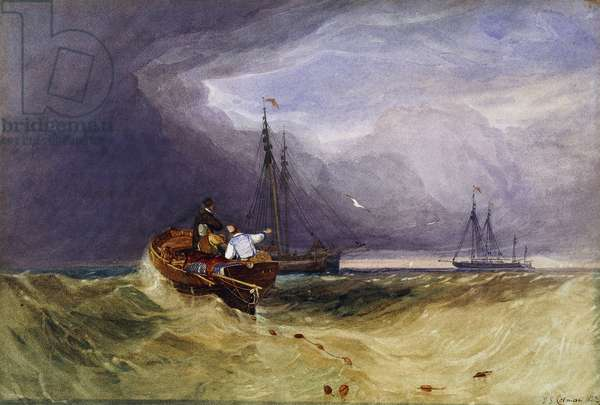 Fishing Boats Off Yarmouth, 1832 (pencil and watercolour)