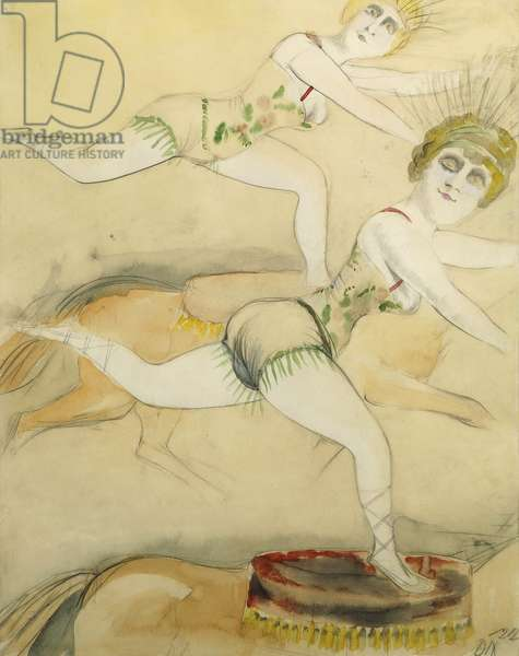 Two Amazons; Zwei Amazonen, 1922 (watercolour and pencil on paper)