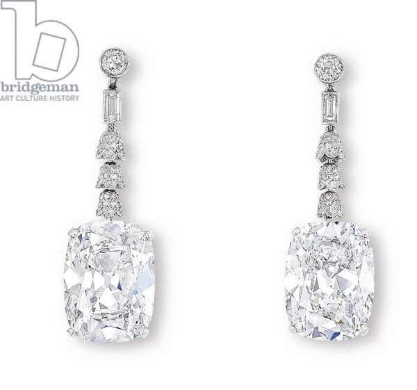 Pair of Ear Pendants (platinum & diamond)