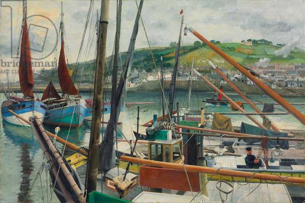 Newlyn Harbour, 1938 (oil on canvas)