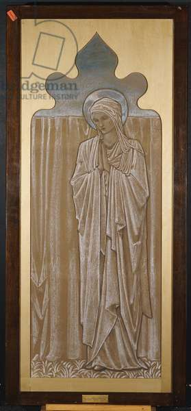 The Virgin Mary: cartoon for a stained glass window at Ashton-under-Lyne, c.1892 (black, white & blue chalk on brown paper)