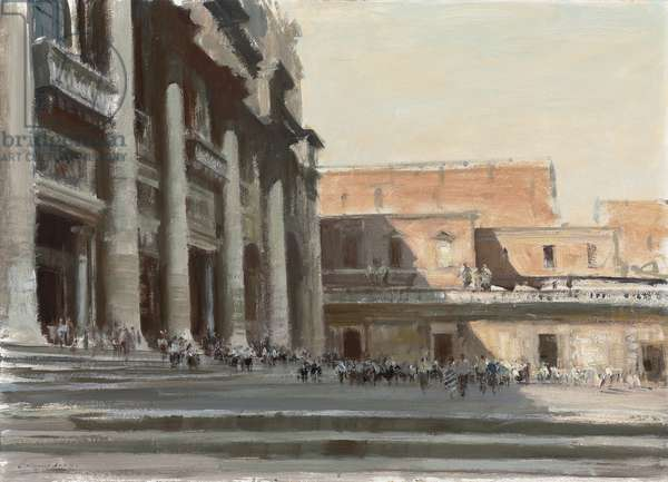 Outside St. Peter's, Rome (oil on board)