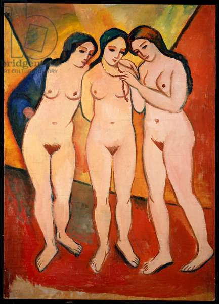 Three Nude Women (Red and Orange), 1912 (oil on canvas)