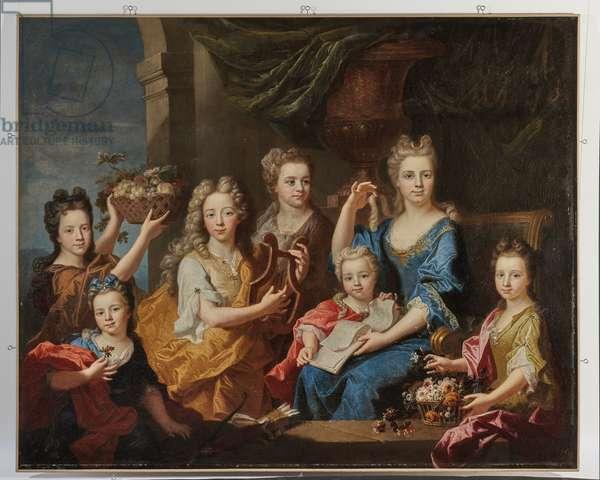 Portrait of the children of M. Bouette de Blémur, 1703 (oil on canvas)