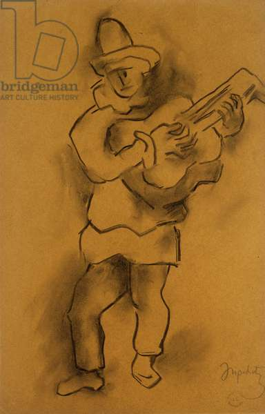 Pierrot, (charcoal and pencil on tan paper)