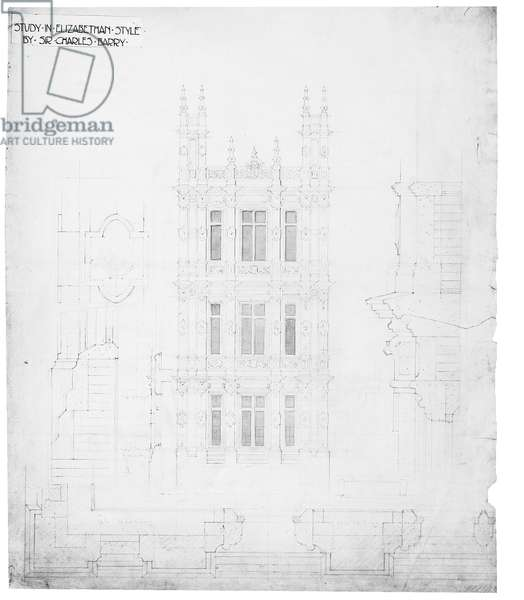 'Study in Elizabethan Style', drawing for the Houses of Parliament, c.1836-40 (pen and ink on paper)