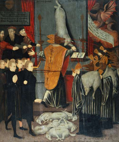 Anti-catholic allegory depicting Stephen Gardiner, Bishop of Winchester, 1556 (tempera on panel)