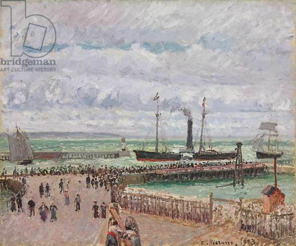 Entrance to the Port of Le Havre and the West Breakwaters, Luminous Grey Weather; Entree du port du Havre et le briselames ouest, temps gris lumineux, 1903 (oil on canvas)