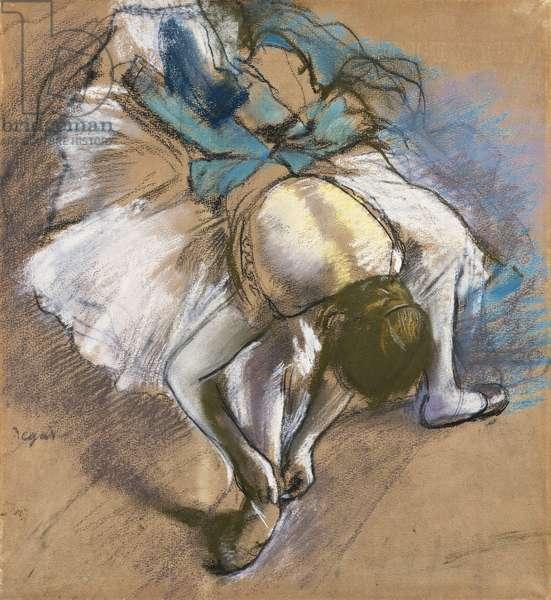 Dancer Putting On Her shoes; Danseuse Attachant Son Chausson, c.1880-1885 (pastel and chalk on buff paper)