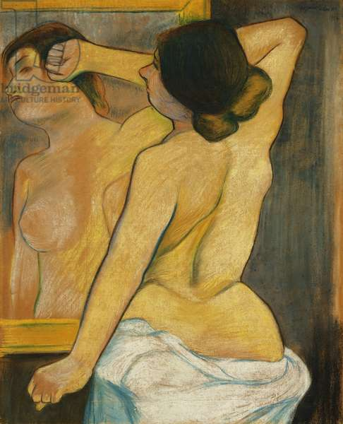 Nude Woman in Front of a Mirror; Femme nue Devant un Miroir, 1904 (pastel on paper mounted at the edges to board)