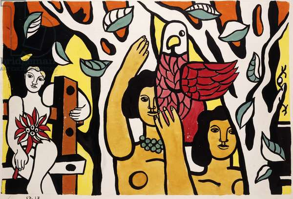 Composition with a Parrot; Composition au Perroquet, 1952 (gouache and black ink on paper)