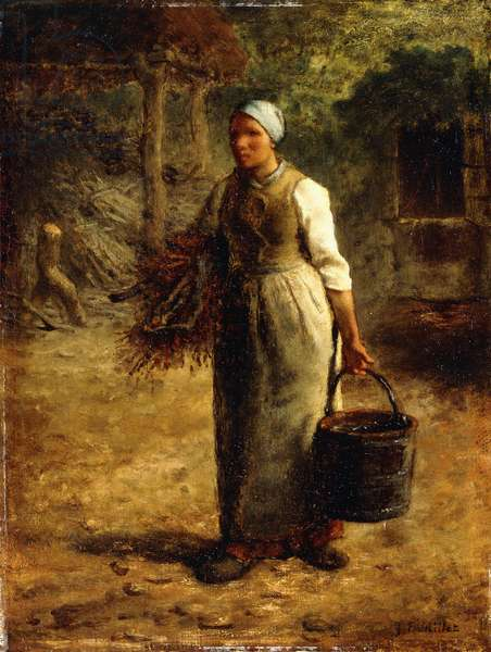 Woman Carrying Firewood and a Pail, c.1858-60 (oil on panel)