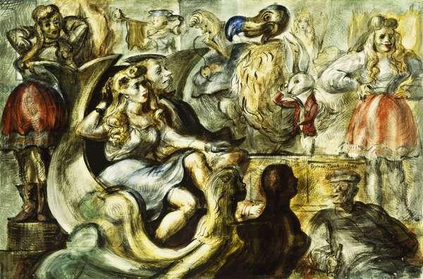 Alice in Wonderland, 1946 (tempera on board)