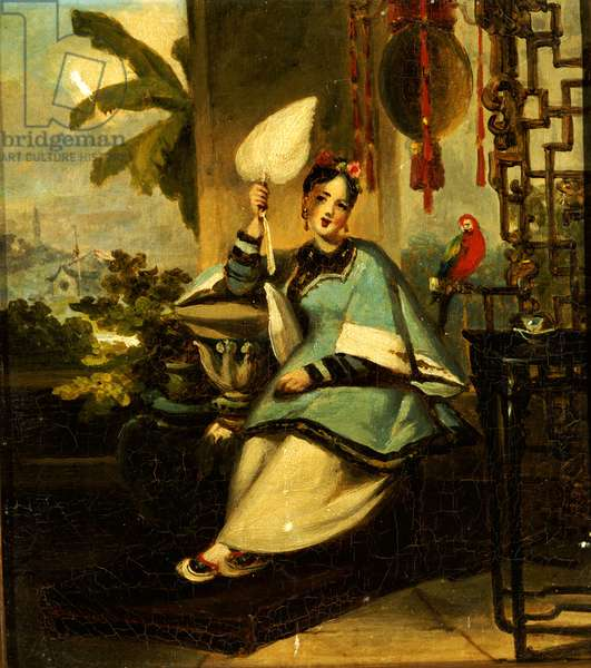 Portrait of a Girl with a Parrot (oil on canvas)