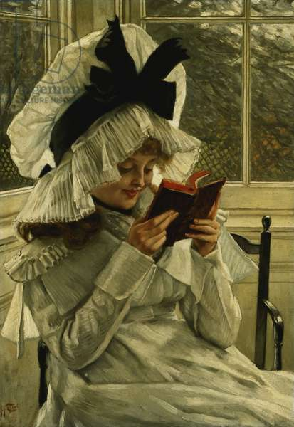 Reading a Book, c.1872 (oil on panel)