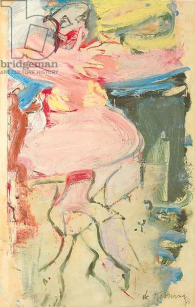 Woman, Hand Before Face, 1965 (oil on paper laid down on board)