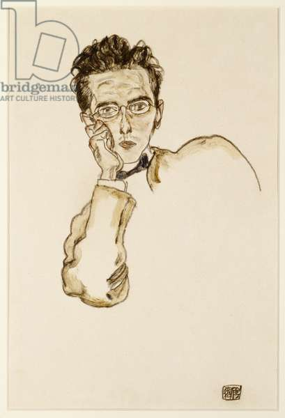 Portrait of the Art Dealer, Paul Wengraf, 1917 (w/c & charcoal on paper)