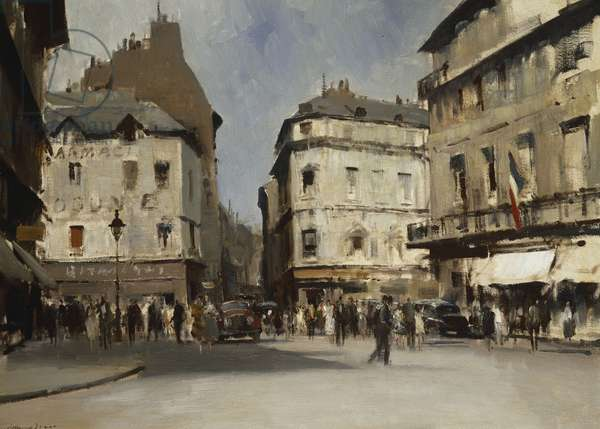 Rue du Pont Neuf, Paris, 1955 (oil on canvas)
