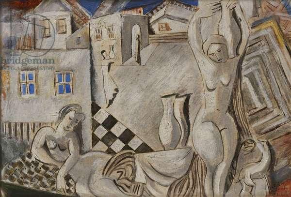 Nude Village; Nus au Village, (gouache on paper)