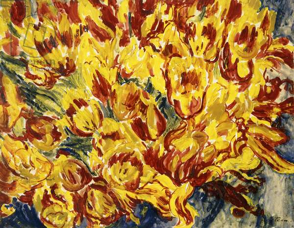 Red and Yellow Tulips, (gouache)
