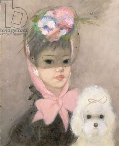 A Girl with a White Poodle, 1967 (oil on canvas)