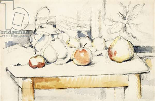 Ginger Jar and Fruit on a Table, 1888-90 (watercolour over pencil on paper)
