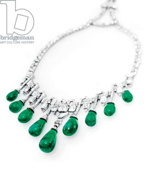 Art Deco necklace, 1929 (diamonds, emeralds & platinum)
