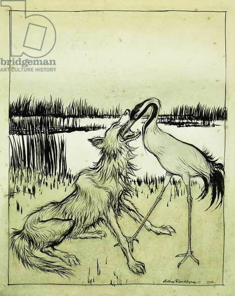The Wolf and the Crane - Aesops Fables, 1912 (pen and black ink with watercolour on paper)