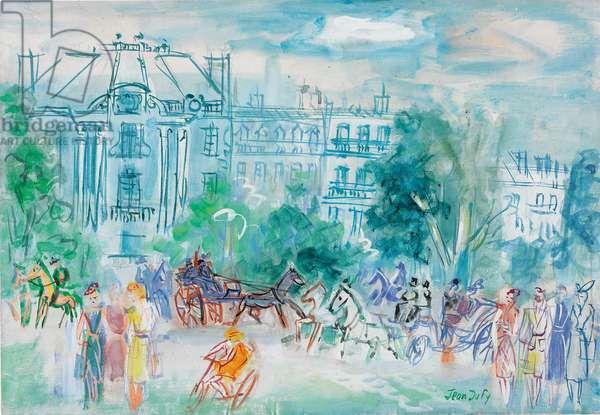 Carriages in Bois de Boulogne; Caleches a Bois de Boulogne, c.1946-1948 (gouache and watercolour on paper laid down on board)