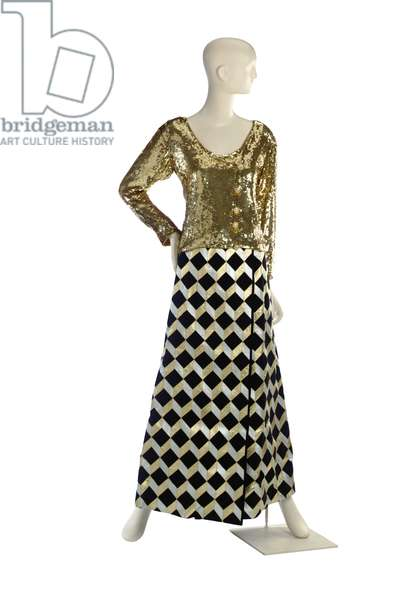 Gold sequinned evening jacket and black ultra-suede long wrap skirt, Yves Saint Laurent, probably late 1970s - 1980s (photo)