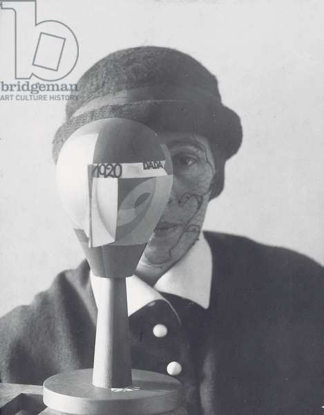 Sophie Taeuber Arp behind Dada head, c.1920 (gelatin silver print)