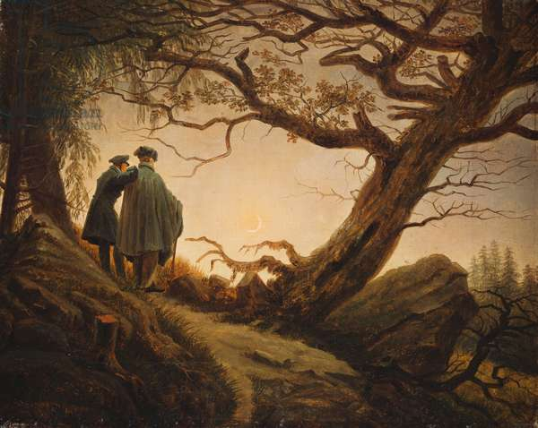 Two Men in the Consideration of the Moon; Zwei Manner in Betrachtung des Mondes, c.1830 (oil on canvas)