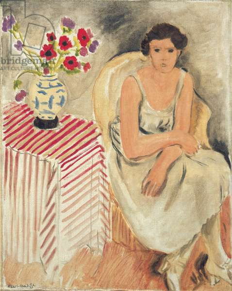 Woman on a chair - Flowers on the table, or carnations, 1920 (oil on canvas)