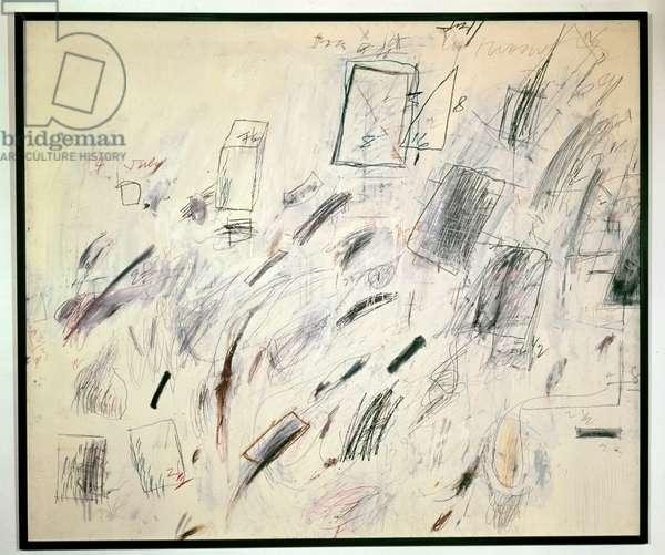 Bolsena, 1969 (oil, coloured chalk & pencil on canvas)