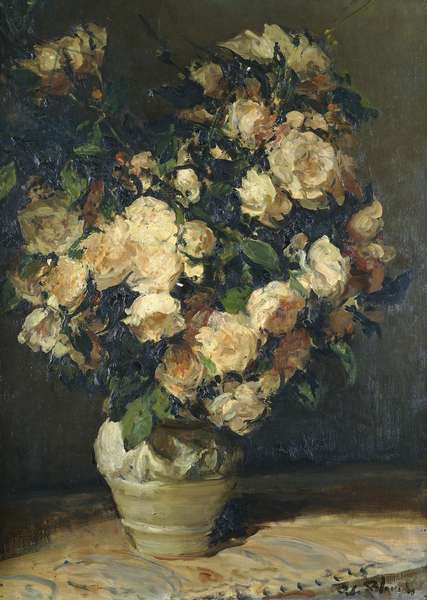Roses in a Vase,  (oil on canvas)