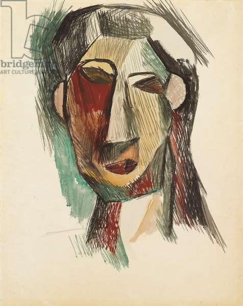 Head of a Woman; Tete de femme, 1909 (gouache and watercolour on paper)
