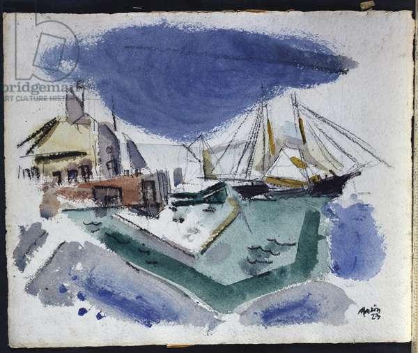 Harbor Scene, 1923 (w/c & pencil on paper)