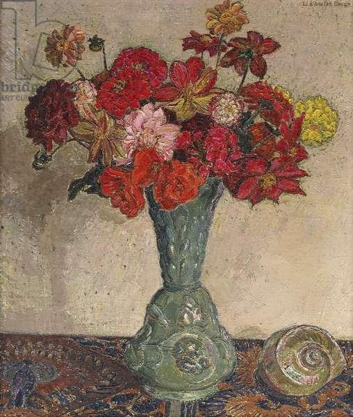 Still Life with Flowers and Shells; Nature Morte avec Fleurs et Coquillage - Stilleven met Bloemen en Schelp, c. 1940 (oil on canvas)
