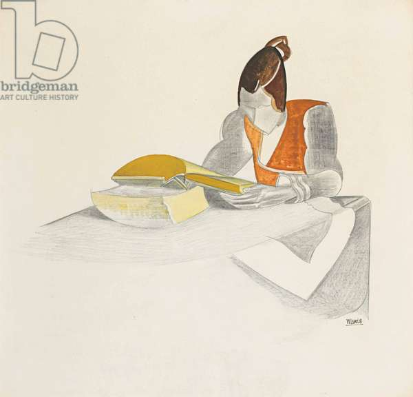 Lady Reading, 1921 (pen & ink with w/c on paper)