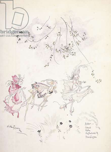 Enter: Cobweb, Moth, Mustardseed & Peaseblossom. Illustration for Shakespeare's 'A Midsummer's-Night Dream', c.1908 (watercolour)