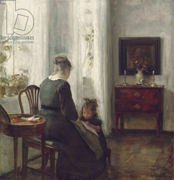 A Mother and Child in an Interior (oil on canvas)