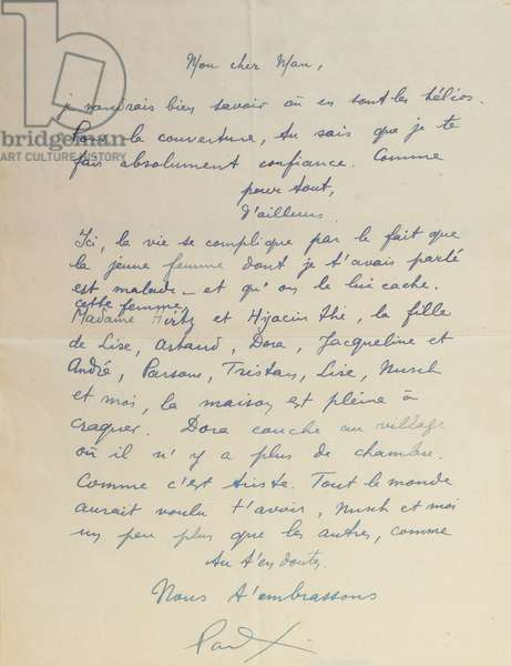 Letter to Man Ray, regarding the achievement of 'Facile', 1935 (pen & ink on paper)