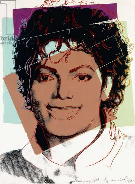 Michael Jackson, 1984 (silkscreen inks and paper collage on paper)