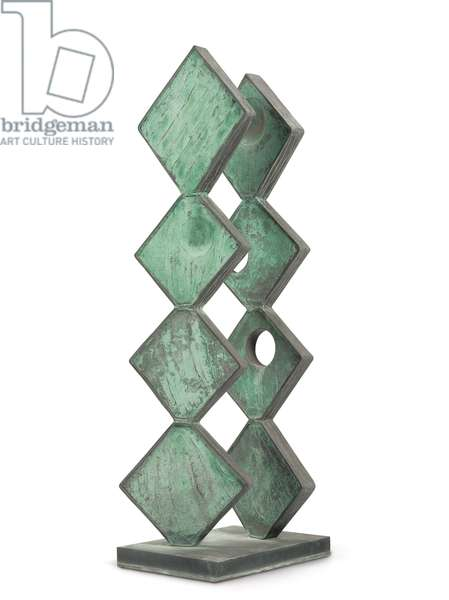 Square Forms (Two Sequences), 1963-1964 ; 1966 (bronze with green and grey patina)
