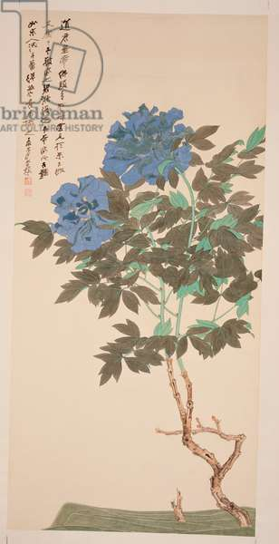 Blue Peonies, 1947 (hanging scroll, ink and colour on paper)