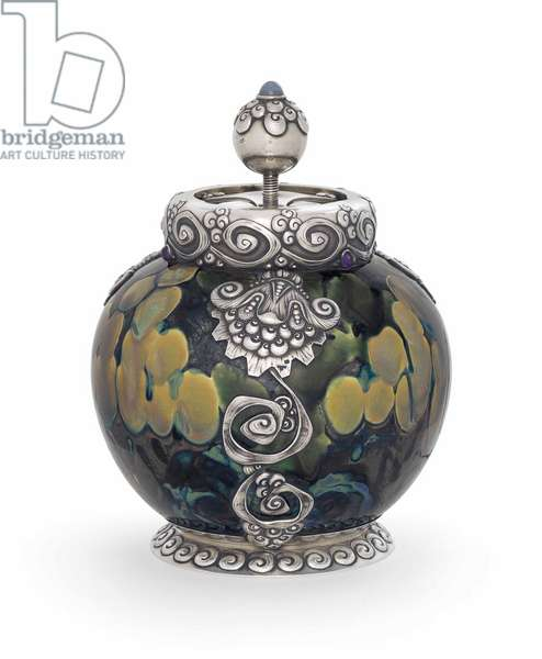 A Gem-Set Parcel-Gilt Silver-Mounted Ceramic Tobacco Humidor, 1899-1908 (ceramic, silver)