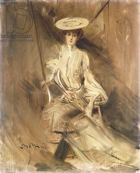Portrait of a Lady, Seated, with a Parasol, (oil on canvas)