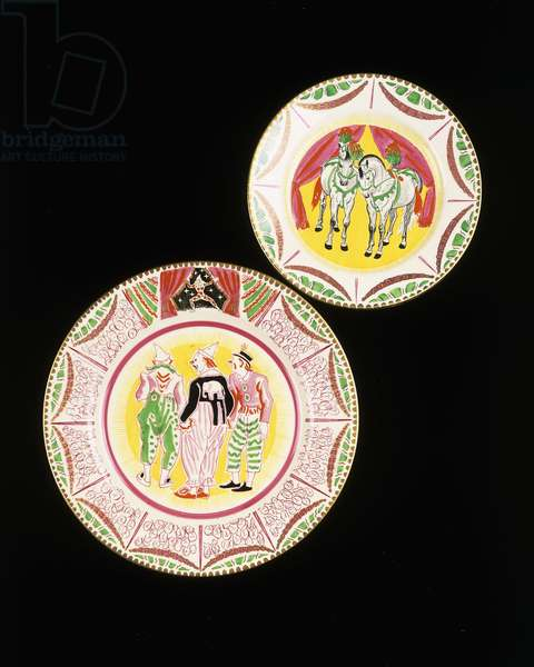 Two 'Bizarre' side plates from the 'Circus' series, depicting two performing horses, and three clowns, c.1935 (ceramic)